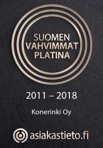 Suomen Vahvimmat Platina 2011-2018 Konerinki Oy - Asiakastieto.fi